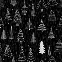 Seamless pattern with different Christmas trees. Black liner rough hand drawing. New Year fir-trees decoration doodle sketch. Can be used  for fabric, phone case and wrapping paper. vector