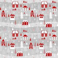 Funny seamless vector pattern with houses, snowflakes and Christmas tree. Vector background for fabric, wrapping paper and greeting card.