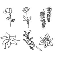 Continuous line drawing of set of different flowers such as sakura, tulip, camellia, azalea etc. Beautiful blossoming natural floral symbol of spring isolated on white background. Minimalist style vector