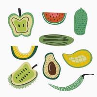 Set of fresh fruit isolated on white background. Assortment of different fruits includes apple, watermelon, papaya,  mango, avocado, pomegranate, chili, cucumber. Vector illustration
