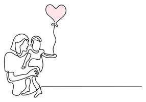 Continuous one line drawing of woman holding her baby with air balloons. Young mother with a kid isolated on white background. Happy Woman's Day. Family parenthood concept. Vector illustration