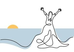 Continuous line drawing of woman with long dress. Beautiful female wearing gown standing in the beach and show happy expression pose. Happy Woman's Day. Feminine fashion concept. Vector illustration
