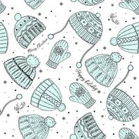 Cute winter vector seamless pattern with hats, mittens, snowflakes and congratulations. Merry xmas, new year pattern. Vector illustration for cover, card, textile and interior design, wrapping paper for New Year.