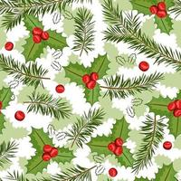 Christmas holly berries seamless pattern illustration and pine branch on white background. Vector background for fabric, wrapping paper and greeting card.