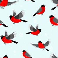 Seamless pattern with bullfinch birds and snow. Vector illustration for Christmas and New Year's greeting cards, invitations, printed material design, fabric and wrapping papper.