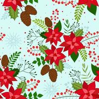 Seamless Christmas Background with poinsettia red, pine cone, rowan berries and snowflakes. Vector background for fabric, wrapping paper and holiday textile.