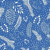 Cones and Christmas tree. Seamless botanical hand drawn vector background. Ideal for greeting cards, backgrounds, holiday decor, fabric and wrapping papper.