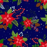 Seamless Christmas Background with red poinsettia, pine cone, holly berries and snowflakes. Vector background for fabric, wrapping paper and holiday textile.