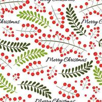 Christmas seamless pattern with rowan berry and green branches. Vector background for wedding, invitations, textile, wrapping paper and phone case.