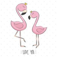 Pink flamingo. Doodle. Cartoon. Can used for print design, greeting card, baby shower, poster, fabric, textile, nursery t-shirt, kids apparel.
