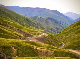 Tranquil mountains road in Georgia in the Khevsureti region photo