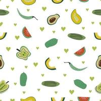 Seamless pattern with assortment tropical fruit for healthy eating and organic foods. Vector fruit mix illustration can be used to fill different shapes, and as a background, wallpaper
