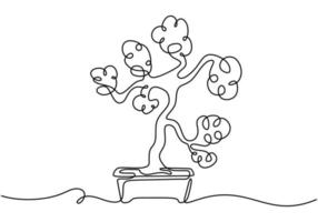 un árbol de los bonsais en maceta un vector de dibujo de línea continua aislado sobre fondo blanco con un diseño minimalista. Plantas decorativas en miniatura antiguas para el diseño de interiores del hogar. concepto de planta de interior
