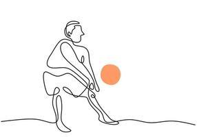 un dibujo de línea continua joven jugador de voleibol profesional masculino en acción. Hombre enérgico jugando una pelota en la cancha aislada sobre fondo blanco. concepto de deporte de equipo competitivo saludable vector