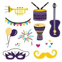 Collection of decorative elements for holiday. Cute childish props for little child. Set of colorful party icons balloon, guitar, trumpet, drum, mask and mustache toy. Festive carnival concept vector