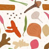 Vector seamless pattern with herbs such as ginger, chilli pepper, onion, red onion, garlic, clove, lemongrass, turmeric. Sketch spices design for paper, cover, fabric, interior decor and other uses.