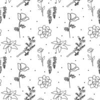 Beautiful floral seamless pattern with blossom flowers, spring endless in continuous one line drawing. Vector illustration for packaging, wrapping paper, social media post etc. Minimalist style