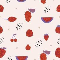 Seamless fashion pattern of red fruits strawberry, watermelon, pomegranate, grape, cherry, cranberry etc. Vector illustration for web, print posters, textile, children clothes, linens dress, fabric