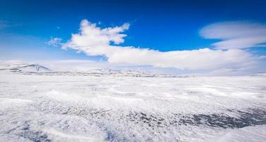 Panoramic view frozen Paravani lake in winter on a sunny day