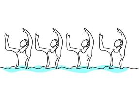 Continuous line drawing young energetic women perform beautiful synchronized swimming choreography. Female swimmers group doing dance in the water. Group water sport competition concept