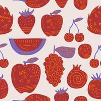Red fruit seamless pattern. Cute fresh fruits strawberry, dragon fruit, watermelon, grape, apple, tomato, cherry etc. Design for print screen backdrop ,Fabric and tile wallpaper. Cartoon fruits vector