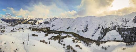 Caucasus mountains panorama in winter in Gudauri photo