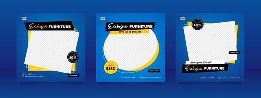 Creative furniture sale banner or social media post template vector