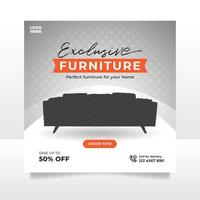 Minimalist furniture sale banner or social media post template vector