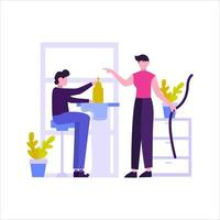 The tailor makes a customer's clothes order vector illustration