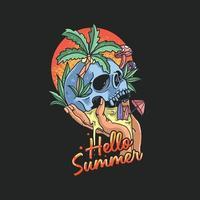 skull summer tropical beach illustration vector