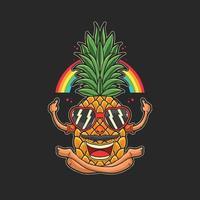 ilustración de frutas tropicales de verano de piña feliz vector