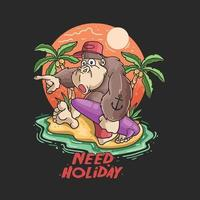 cute gorilla happy summertime illustration vector