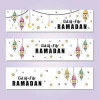 Set of Eid Al Fitr Banners vector
