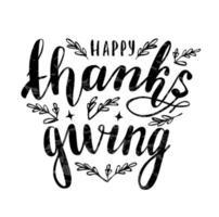 feliz día de acción de gracias insignia de letras vector