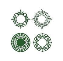 Circle Cannabis Leaf Vector Sign