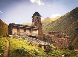 Tusheti, Georgia 2020-Stone towers and traditional tusheti houses in Dartlo village photo