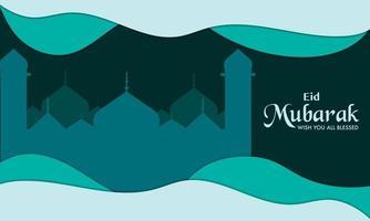 Eid Mubarak Paper Wave Background vector