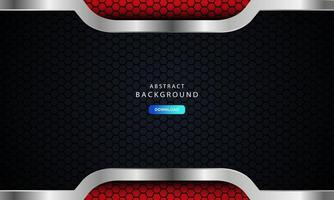 Resumen rojo oscuro en líneas metálicas con diseño de patrón de malla hexagonal, ilustración vectorial sobre fondo moderno futurista oscuro.