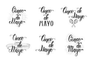 cinco de mayo conjunto de letras hechas a mano. símbolo mexicano de la ilustración del vintage del color en el estilo del bosquejo aislado en blanco. frase de caligrafía de letras. vector