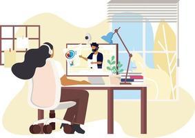 un estudiante universitario estudia desde casa a través de una computadora portátil en línea en un diseño vectorial mínimo. trabajar desde un estudio de videoconferencia en línea desde casa debido al brote de covid19 vector