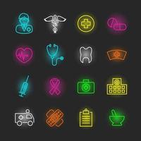 conjunto de iconos de neón médico vector