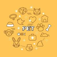 pet minimal outline icons vector
