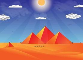 Ilustración de pirámide plana vector