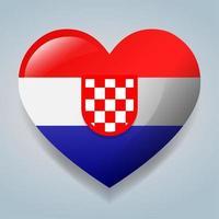 heart with Croatia flag symbol illustration vector