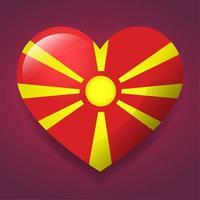 Corazón con ilustración de símbolo de bandera de Macedonia del norte vector