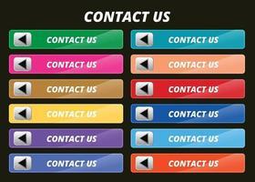 Contáctenos botones, símbolo colorido con diseño de vector de iconos.