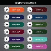 contáctenos botones y diseño de iconos. vector