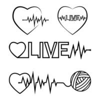 Heartbeat pulse black outline abstract vector