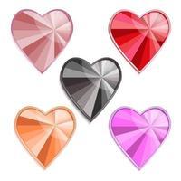 Set of precious hearts vector