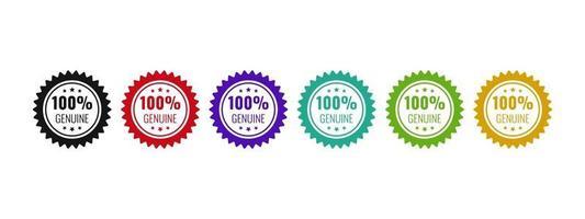 diseño genuino de la insignia del logotipo 100 Ilustración de vector original de icono de producto de confianza.